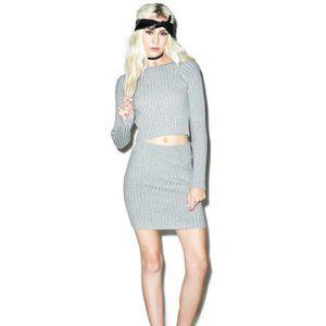 For Love & Lemons Back to Basics Skirt Grey XS NWT